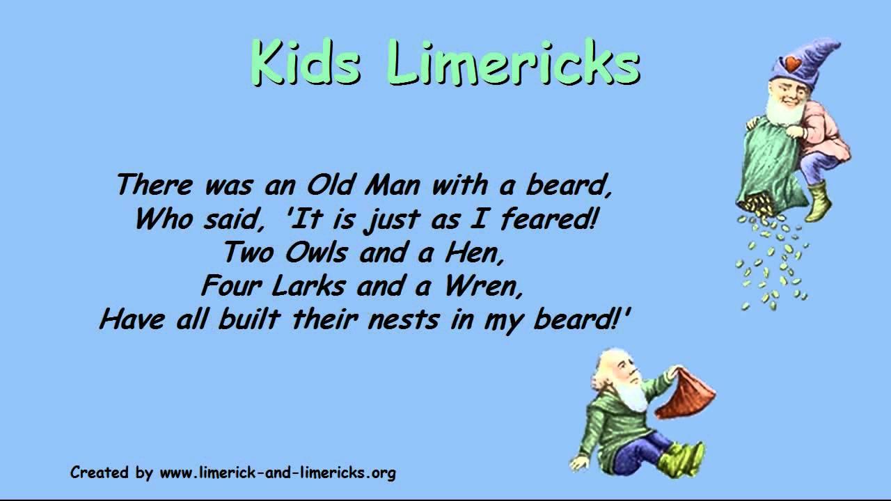 Kids Limericks Example Limerick Poems ☺ Youtube
