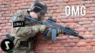 SWAT Officer tries Airsoft and DESTROYS Everyone.