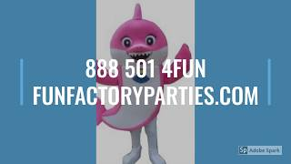 Baby Shark Adult Sized Mascot Costume Rentals! 888 501 4FUN https://funfactoryparties.com/