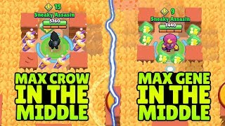 MAX GENE VS MAX CROW IN THE MIDDLE CHALLENGE | Trolling Noobs in Brawl Stars