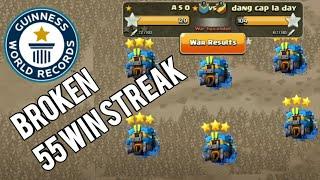 New World Receod A.S.O Broken Enemy's 55 War Win Streak - TH12vsTH12 All Base 3star -Clash of Clans