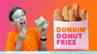 DUNKIN DONUT FRIES Doughnut Review and Taste Test with CollinTV