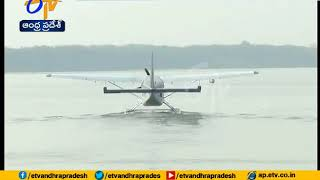 CM Chandrababu travels in sea plane at Punnami Ghat in Vij..