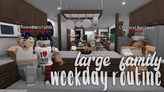 Large Family Weekday Routine | Bloxburg Roleplay | alixia