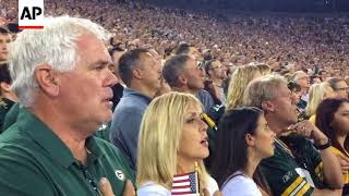 """Players Lock Arms, Fans Chant """"USA! USA"""" At Bears-Packers Game"""