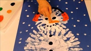 Finger painting a snowman