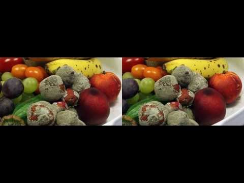 Rotting Fruits decay Time Lapse 3D Full HD fast and reverse version