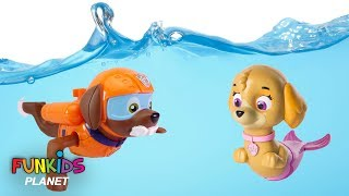 Paw Patrol Skye & Chase Scuba Dives with Zuma in Swimming pool