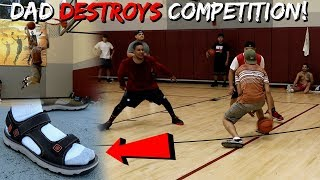 5'7 DAD DUNKING & PLAYS PICK UP BASKETBALL IN SANDALS!!