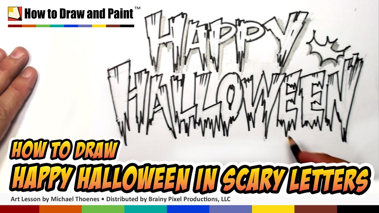 How to Draw Cool Letters - Happy Halloween in Scary Letters - YouTube