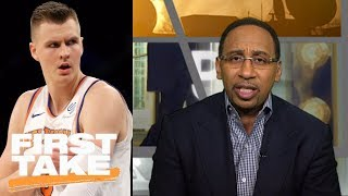 Stephen A. Smith is 'very, very concerned' about Kristaps Porzingis' elbow | First Take | ESPN