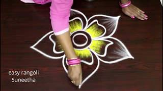 Simple n creative Friday  color kolam   by easy rangoli Suneetha ||  new muggulu designs