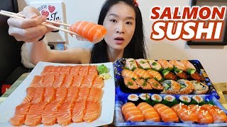 ALL SALMON Sushi & Sashimi Feast!! Sushi Rolls, Nigiri   Japanese Food Mukbang w/ Asmr Eating Sounds