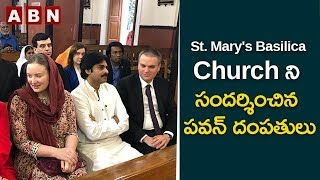 Pawan Kalyan And His Wife Anna Lezhneva Visit St. Mary's B..