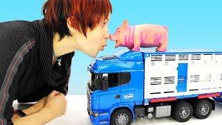 Веселая школа Капуки Кануки. Маша и грузовичок Лева на ферме. Видео про игрушки.