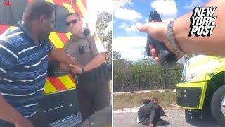 Crnac je oteo iz ruku policajca njegov električni pištolj 'tejzer'. BOLJE DA NIJE! (VIDEO)