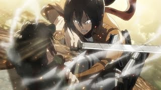 Mikasa vs Levi - Levi hits Eren then Mikasa Attacks Levi