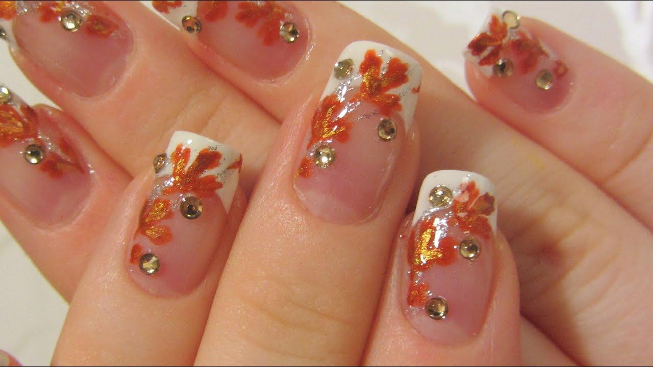 Autumn Bridal Design With Bronze Burnt Orange And Gold Leaves Amp Rhinestones Nail Art Tutorial