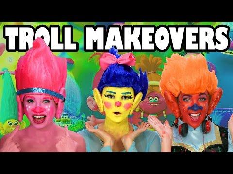 Trolls Makeovers with Elsa, Belle, Anna Trolls Movie. DisneyToysFan