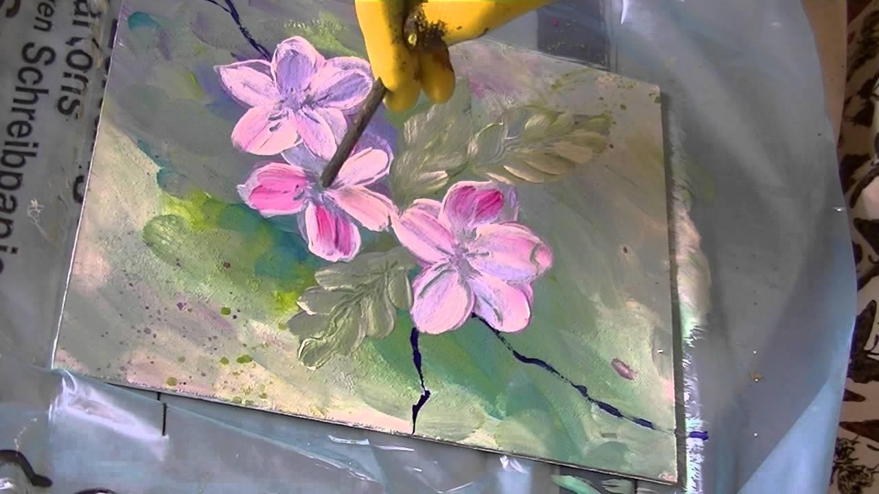 Acrylmalerei für Anfänger Apfelblüten acrylic painting for ...