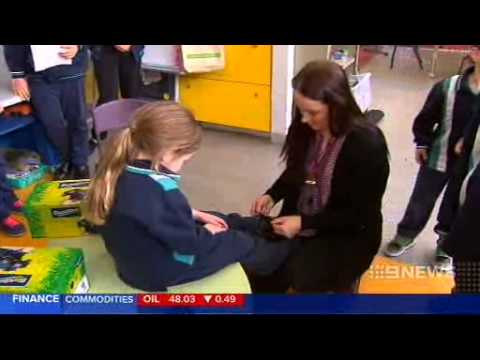 National Nine News coverage of Blundstone school shoes donation