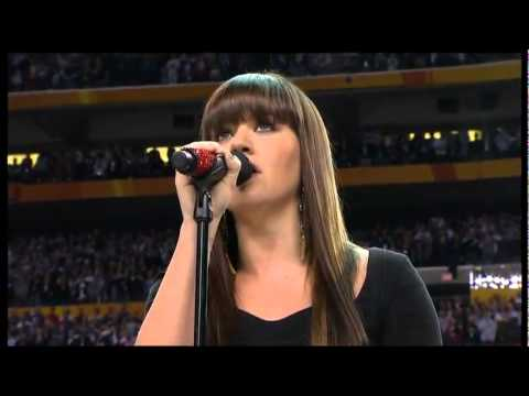 Kelly Clarkson sings National Anthem at the Super Bowl XLVI 2012