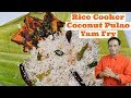 Rice Cooker Coconut Rice  And Yam fry - Lunch Box Recipe - Instant Rice Cooker Pulao Recipe
