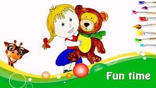 Кукла Маша и медведь/Doll Masha and the Bear.  Изучение английского. Учим цвета.
