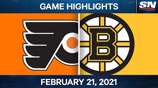 NHL Game Highlights | Flyers vs. Bruins - Feb. 21, 2021