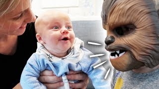 Baby LOVES Chewbacca Mask! *HILARIOUS*