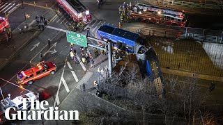 New York bus suspended from expressway after Bronx crash