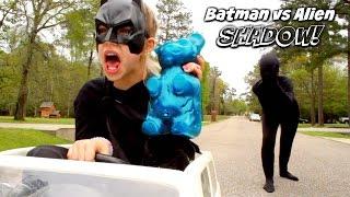 Batman vs SCARY ALIEN SHADOW ATTACKS World's Largest Gummy Bear Bad Baby in Real Life SuperHero Kids