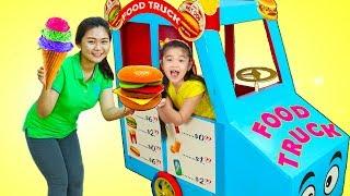 Hana Pretend Play w/ GIANT Food Truck Toy & Ice Cream Cart Kids Toys Playset