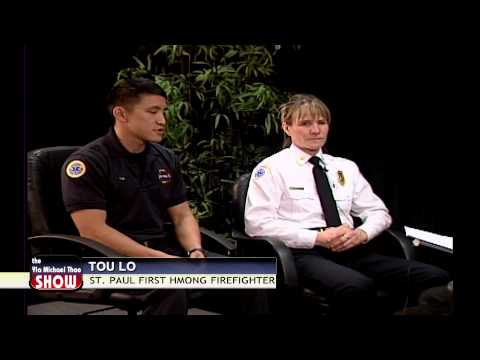 First St. Paul Hmong firefighter Tou Lo on the show with Yia Michael Thao.