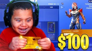 Kid Spends $100 On Season 9 *MAX* Battle Pass With Brother's Credit Card! (Fortnite)