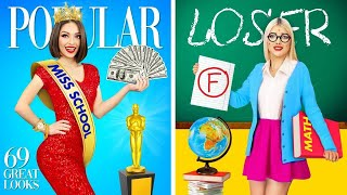 POPULAR vs NERD Student || Types of Girls in School Life! How To Become Popular by RATATA