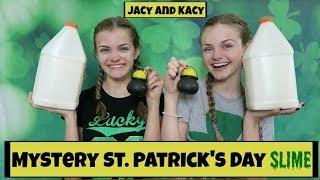 Mystery St. Patrick's Day Slime Challenge ~ Jacy and Kacy