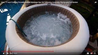 Intex 77 inch PureSpa Portable Bubble Massage Spa Set Unboxing Assembly, Set-Up and Full Review