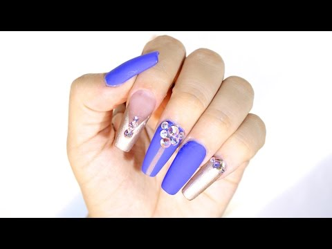 How To Blue Gold Squaletto Nails