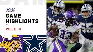 Vikings vs. Cowboys Week 10 Highlights | NFL 2019