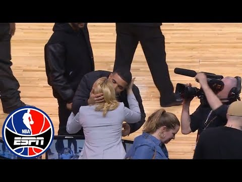 Drake gives Doris Burke a kiss on the cheek at Celtics vs. Raptors | ESPN