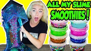 MIXING ALL MY SLIME SMOOTHIES TOGETHER IN A GIANT SLIME SMOOTHIE! + AQUARIUM SLIME