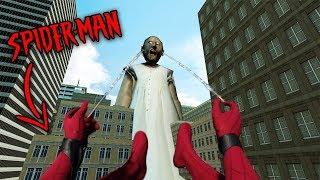 Spider-Man vs GIGANTIC GRANNY in Granny Horror Game... (Spiderman in Granny Horror Game Multiplayer)