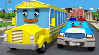 Coche de Policía con el Pequeño Autobús! COCHES de Servicio. Dibujo animado de Coches Para Niños