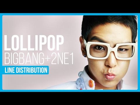 BIGBANG & 2NE1 - Lollipop Line Distribution (Color Coded)