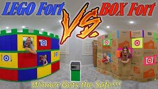 Giant Lego Castle vs Giant Box Fort Nerf Battle! Winner Unlocks the Safe!!!