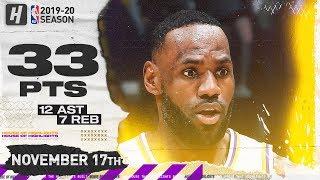 LeBron James Full Highlights vs Hawks (2019.11.17) - 33 Pts, 12 Ast, 7 Reb!