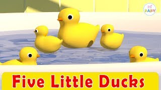 Five Little Ducks Nursery Rhyme | Learn Colors Hi Baby 2018