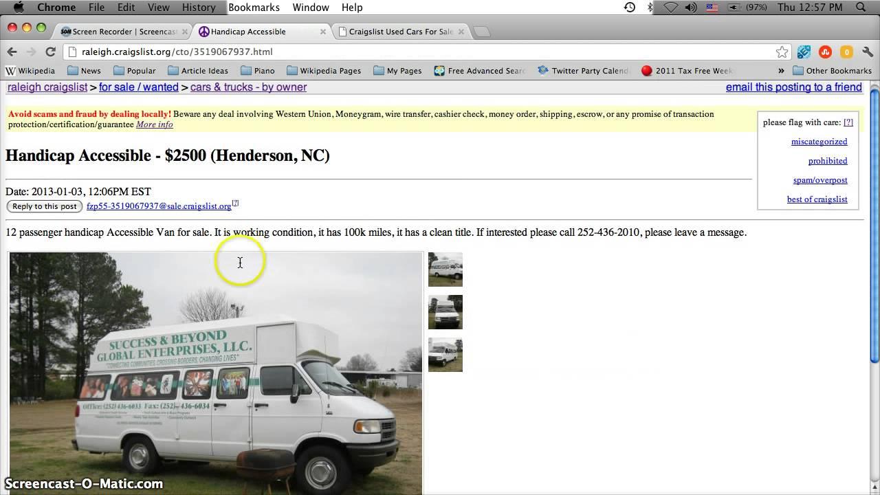 Dodge Fayetteville Nc >> Craigslist Handicap Vans for Sale by Owner in North ...