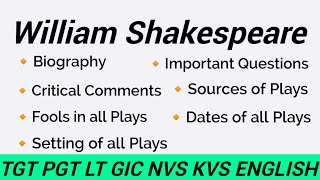 William Shakespeare Biography    Critical Comments   William Shakespeare Plays Sources   